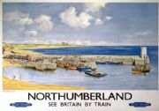 Northumberland, Seahouses. British Railways Vintage Travel poster by J G Fullerton
